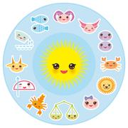 Stock Illustration of Funny Kawaii Sun, zodiac sign, astrological stiker set virgo, aries, gemini