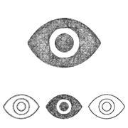Eye icon set - sketch line art Stock Illustration