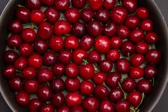 Top view of red cherry - stock photo