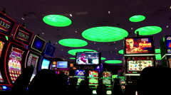 Slot machines inside Hard Rock Casino Stock Footage