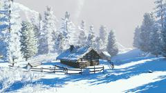 Little hut in a snowy mountains at winter day - stock illustration