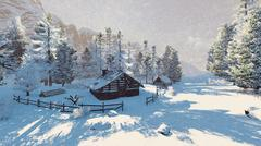 Little cabin in a snowy mountains at snowfall - stock illustration