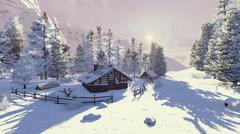 Little cabin in a snowy mountains at dawn - stock illustration