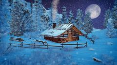 Little cabin in a mountains at snowfall night - stock illustration