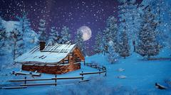 Full moon above snowy little hut at snowfall - stock illustration