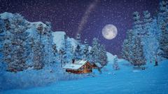 Little hut high in mountains at snowfall night - stock illustration