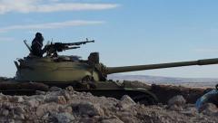 Peshmerga test fire Dushka machine gun on the Mosul front lines in Kurdistan. Stock Footage