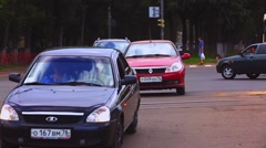Stock Video Footage of People crossroads town car