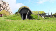 Ancient viking home and village, dolly movement Stock Footage