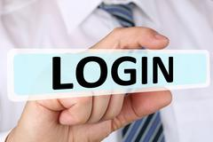 Businessman business concept with login register password on internet compute - stock photo