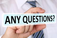 Businessman business concept asking any questions problem solution Stock Photos