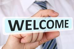 Businessman business concept with welcome employee staff employees Stock Photos