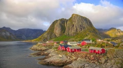 Reine fishing village in Lofoten Islands, Norway Stock Footage