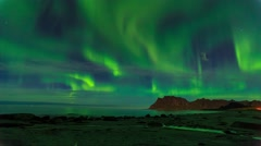Aurora over the sea timelapse Stock Footage