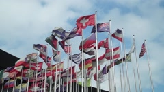 Colored flags fluttering in the wind Stock Footage