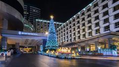 Night illumination of Christmas and New Year Festival - stock photo