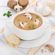 Mushroom soup with mushrooms in bowl healthy eating - stock photo