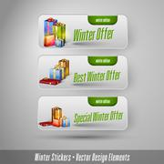Business winter stickers with gifts. Vector design elements. Piirros