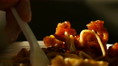 Closeup eating spaghetti in sauce with grilled meat - Taiwanese cuisine Stock Footage