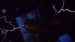 Close-Up Lightning Flash On The Tesla Coil Stock Footage