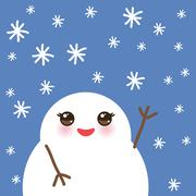 cute cartoon white kawaii snowmen with snowflakes on blue background for winter - stock illustration