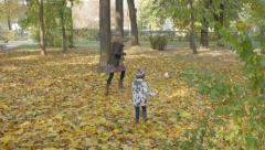 The cute girl and her younger sister chasing for the ball on the yellow leaves. Stock Footage