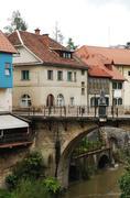 Capuchin's Bridge in Skofja Loka - stock photo