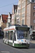AUGSBURG, GERMANY - APRIL 16: Cable car in Augsburg on April 16, 2011. Augsbu - stock photo