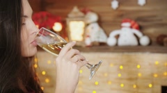 Glasses of champagne in  hands on Christmas party Stock Footage