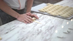Pastry chef preparing croissant - stock footage
