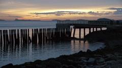 Ocean Pier Sunrise South Boston Stock Footage