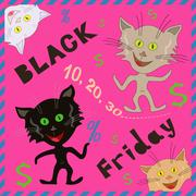Funny cats announcing a Black Friday - stock illustration