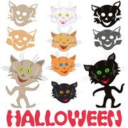 Halloween set of funny cats and feline masks Stock Illustration