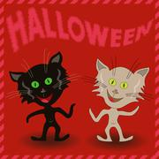 Inscription Halloween and two amusing cats - stock illustration