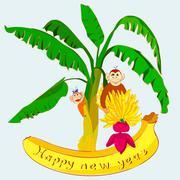Happy new year fantasy abstract monkey Stock Illustration