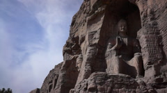 Buddha statues caves in Yungang Grottoes Stock Footage