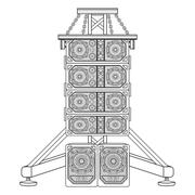 line array concert acoustics on truss suspension illustration. - stock illustration