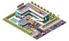 Vector isometric motel - stock illustration