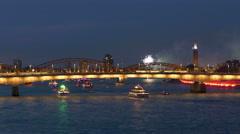 4K UHD Cologne Köln Kölner Lichter 2015 firework on Rhine river - stock footage