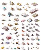 Vector isometric buildings set Stock Illustration
