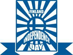 Stock Illustration of finland flag on sun rays backdrop