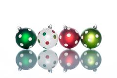 colorful and ornate with Dot  christmas ball Reflection - stock photo