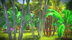 Lush vegetation in jungle - stock illustration