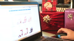 Christmas shopping online time lapse Stock Footage