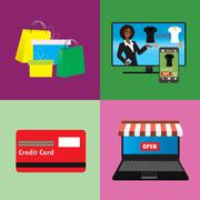 Business concept  set of online shopping internet purchase - stock illustration