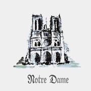 Notre Dame de Paris Cathedral, France. Watercolor hand drawing. Stock Illustration