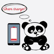 Cute sad panda with a smartphone that is discharged Stock Illustration