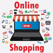 On line store. Sale, Laptop with awning. - stock illustration