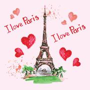 Eiffel tower,lettering,pink hearts.Hand drawn watercolor decor. Stock Illustration