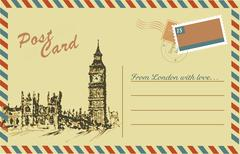 Vintage postcard with Big Ben,watercolor hand drawing Stock Illustration
